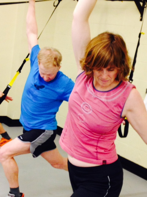 Stretching out after a great TRX Suspension trainer workout